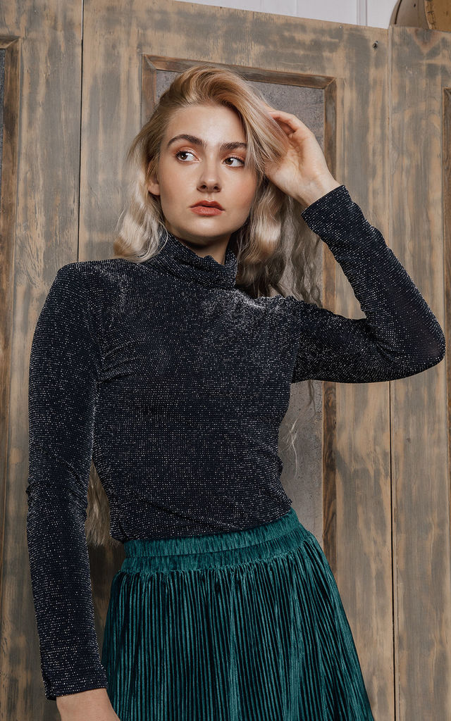 Long Sleeve Polo Neck Sparkle Top by Sugar + Style