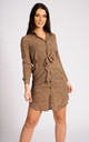Belted Mini Shirt Dress in Tan Leopard by LOVE SUNSHINE