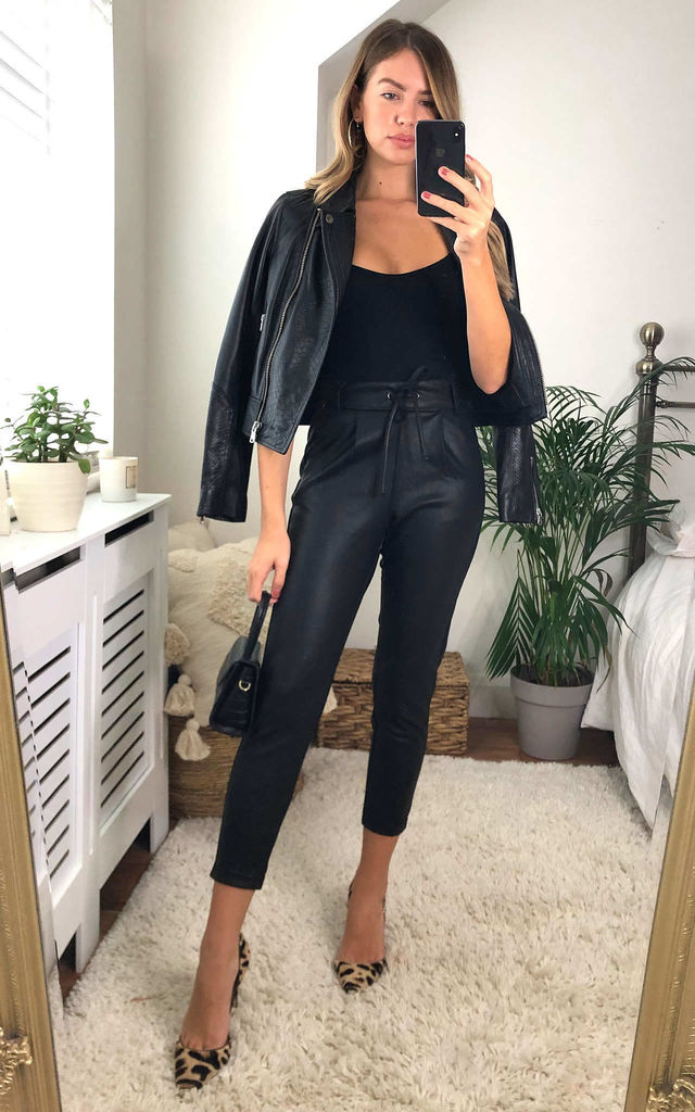 Faux Leather Trousers With Tie Waist in Black by ONLY