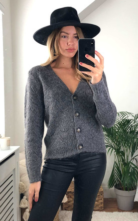 Pointelle Knitted Cardigan In Dark Grey by Pieces Product photo