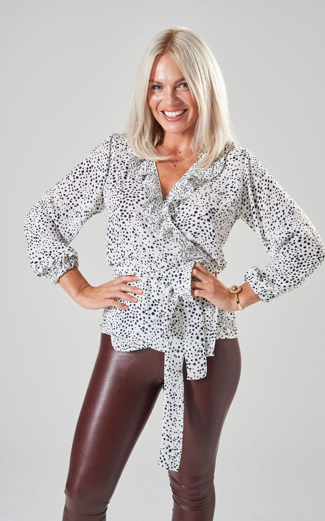 Wrap Blouse in White and Black Dalmatian Spot with Frill by Prodigal Fox