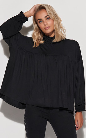 Loose Fit Top with Frill in Black by Makadamia