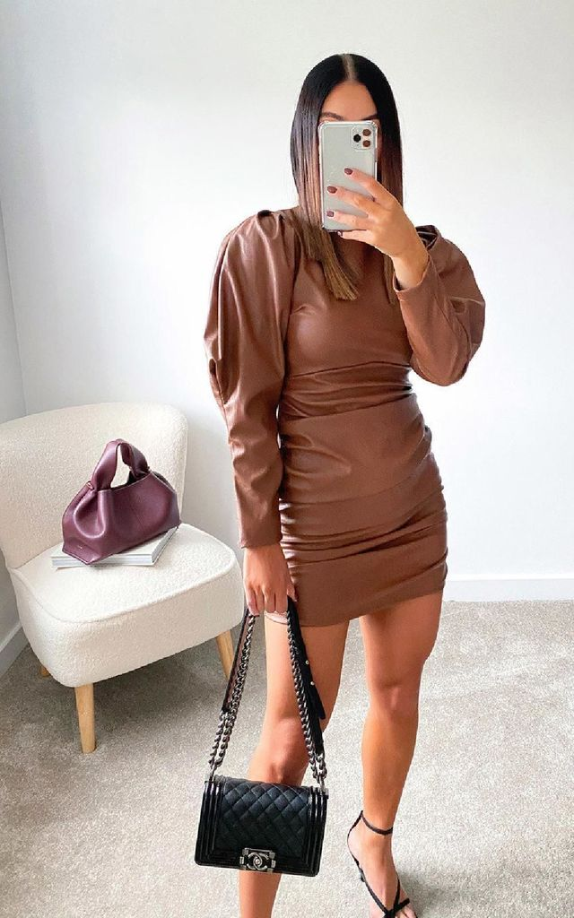 Colette Faux Leather Mini Dress in Camel by IKRUSH