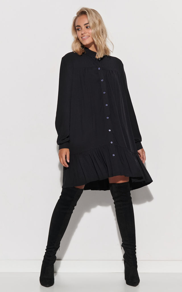 Black Mini Shirt Dress with Frill by Makadamia