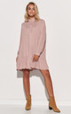 Dirty Pink Mini Shirt Dress with Frill by Makadamia