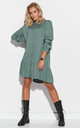 Khaki Mini Shirt Dress with Frill by Makadamia
