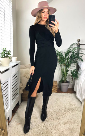 Knitted Long Sleeve Wrap Midi Dress In Black by Jenerique Product photo
