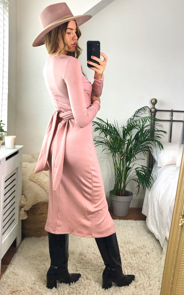 Knitted Long Sleeve Wrap Midi Dress in Pink by Jenerique