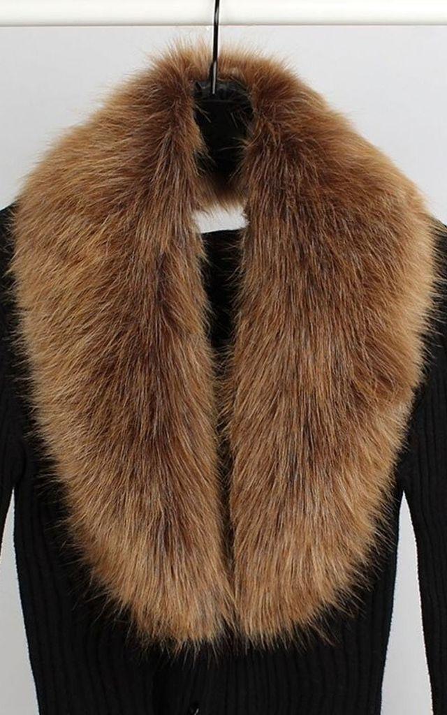 Brown Faux Fur Shawl Coat Collar by Olivia Divine Jewellery