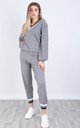 Striped V Neck Top and Trousers Co-ord in Grey by Lucy Sparks