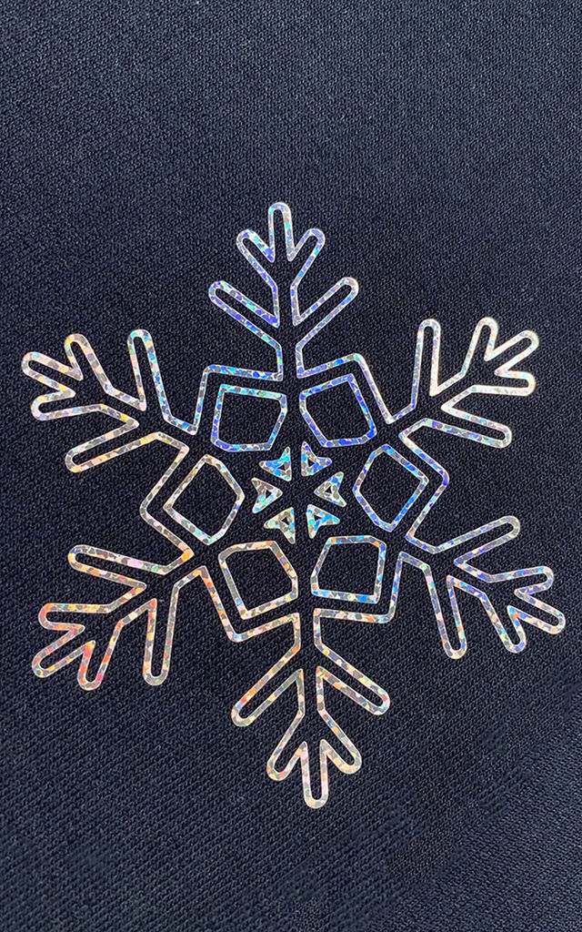 Christmas Winter Jumper in Navy with Silver Glitter Snowflake by LimeBlonde