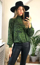 High neck Long Sleeves Oversized Top in Green Animal Print by Jenerique