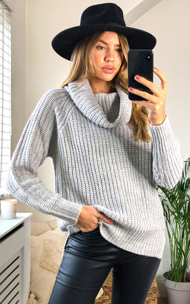 Nolla Grey Cowl Roll Neck Jumper by Faux