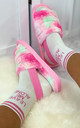 Bliss Cloud Pastel Tie Dye Fluffy Slippers in Pink by Larena Fashion