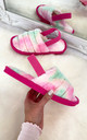 Bliss Cloud Pastel Tie Dye Fluffy Slippers in hot Pink by Larena Fashion