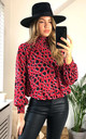 High neck Long Sleeves Oversized Top in Red Leopard print by Jenerique