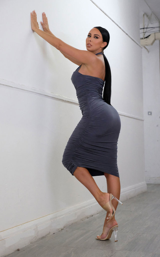 Katie Grey Slinky Ruched Square Neck Bodycon Midi Dress by Femme Luxe