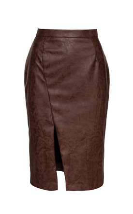 Chocolate Brown Faux Leather Pencil Skirt by Conquista Fashion