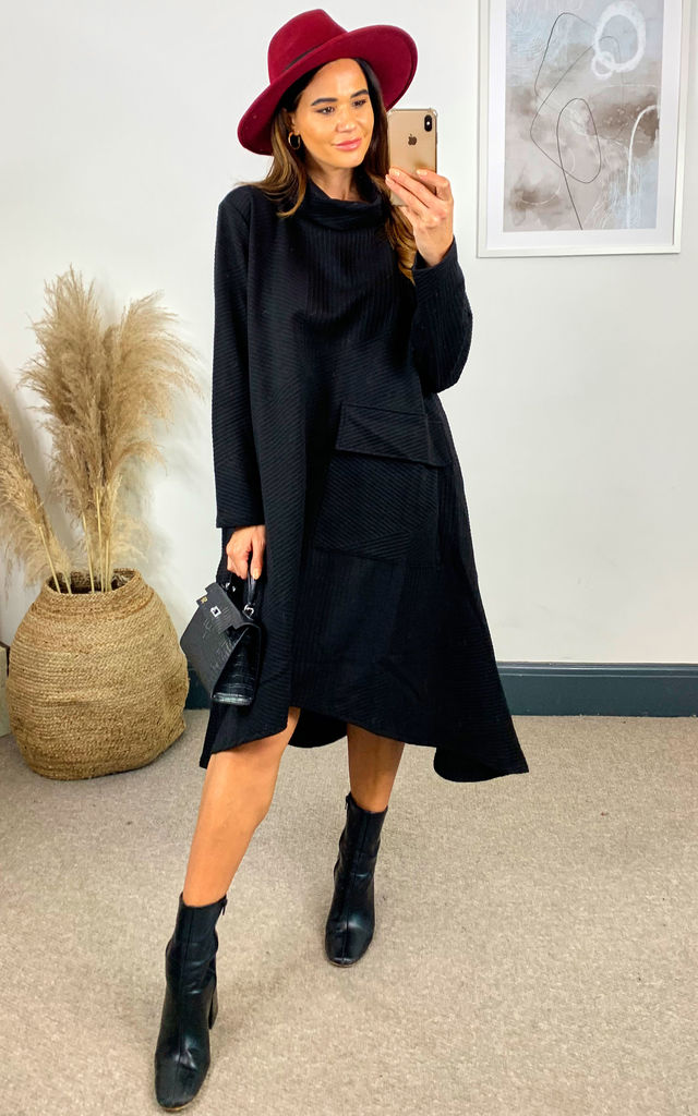 Oversized Roll Neck Dress in Black by Malissa J Collection