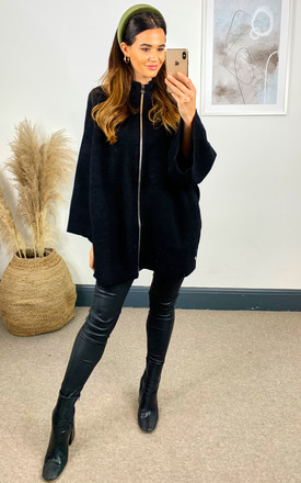 Oversized Knitted Jacket in Black by Malissa J Collection