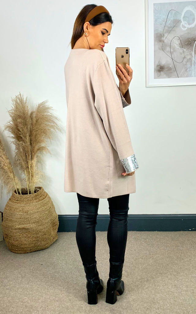Oversized Cardigan with Sequin Cuff in Stone by Malissa J Collection