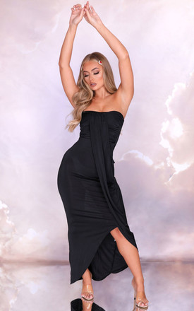 Lydia Black Strapless Slinky Drape Front Bodycon Maxi Dress by Femme Luxe