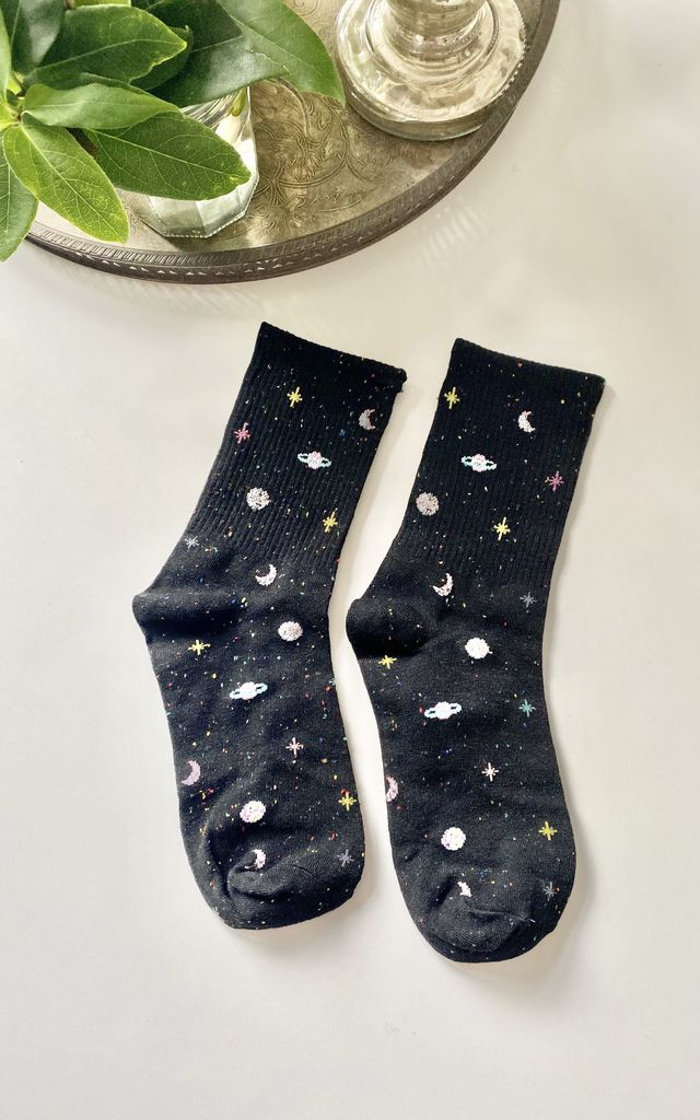 Black midnight sky socks by Kate Coleman