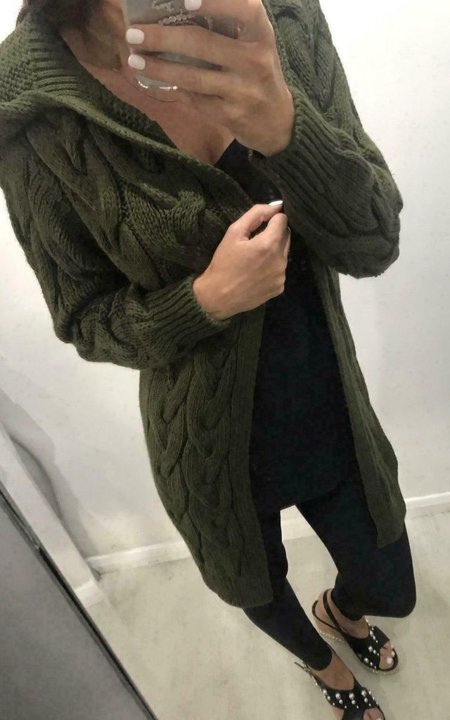 Hooded Long Line Khaki Cable Knit Cardigan by GIGILAND UK