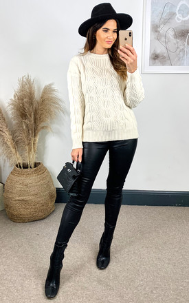SOPHIA Cable Knit Oversized Jumper In Ivory by Blue Vanilla