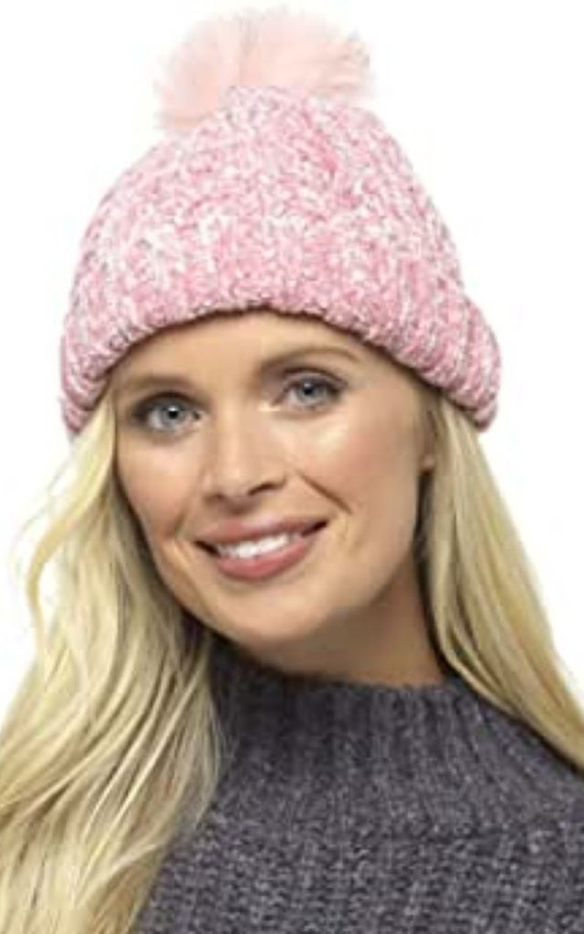 Pink Chenille Hat with Faux Fur Bobble by BB Lingerie