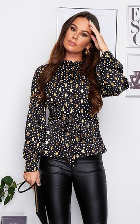 Kristen Tie Waist Top Black Foil Print by Girl In Mind Product photo