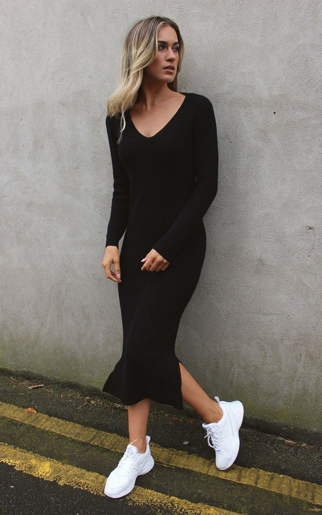 Long Sleeve Knit Dress with Split in Black by HAUS OF DECK