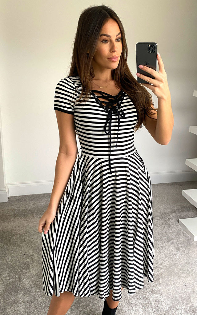 Midi Dress with Black and White Stripes by Voodoo Vixen