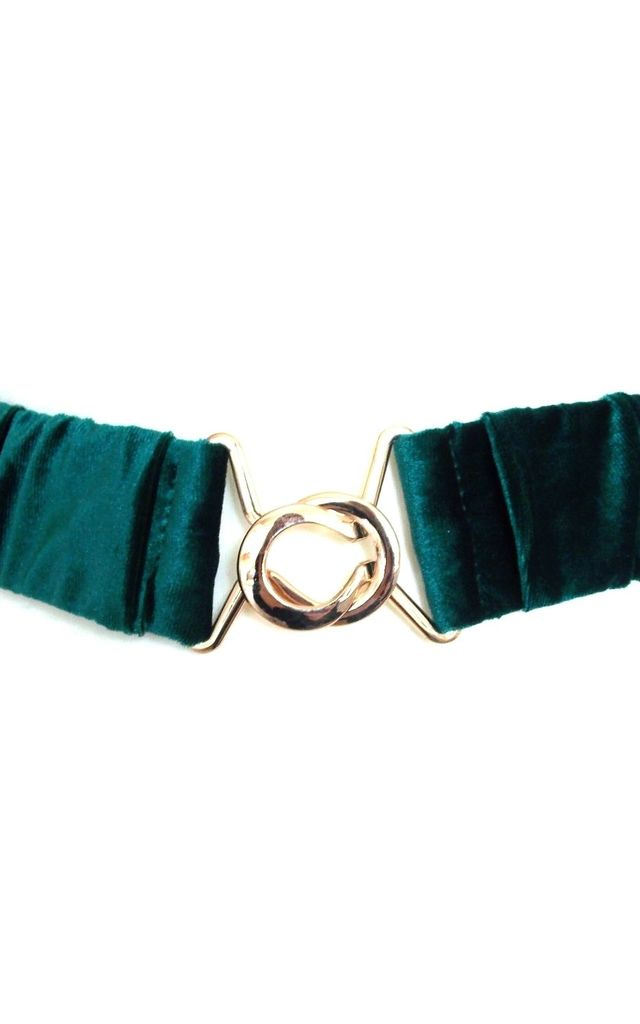 Green Velvet Ruched Stretch Style Belt by Olivia Divine Jewellery