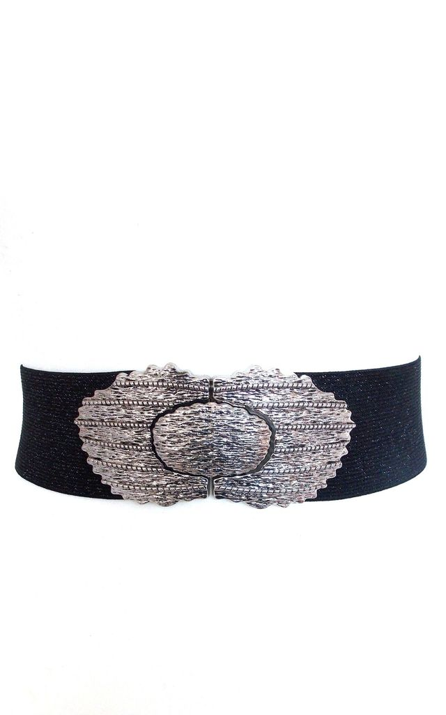 Silver Vintage Style Buckle Stretch Belt by Olivia Divine Jewellery