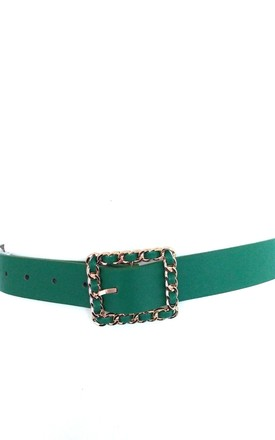 Green Slim Faux Leather Belt by Olivia Divine Jewellery
