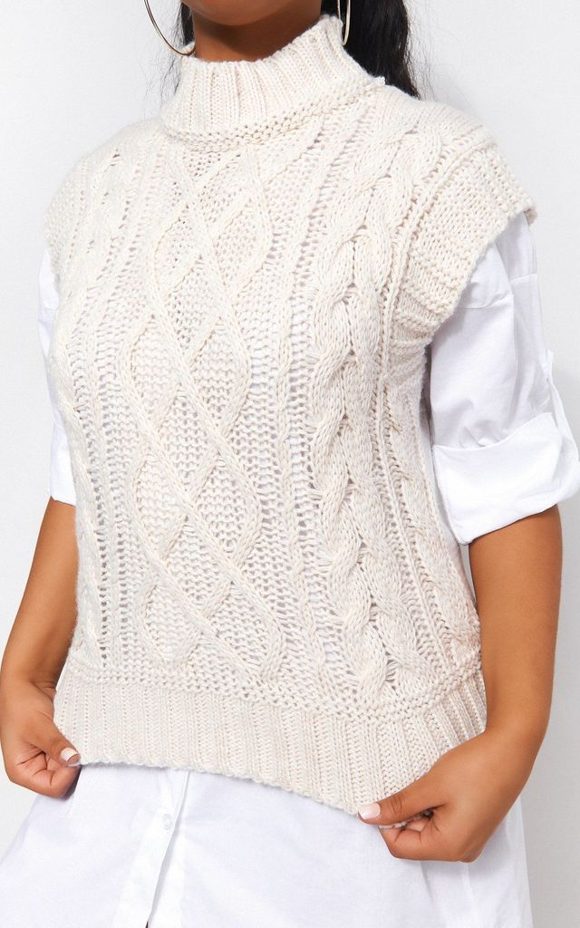 CREAM CABLE KNITTED TANK TOP by TFB