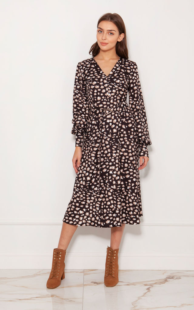Midi Dress with V-neck and Puffed Sleeves in Panther Print by Lanti