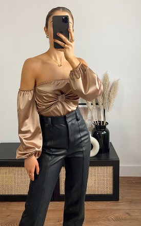 Imogen Off Shoulder Satin Bodysuit in Bronze by IKRUSH