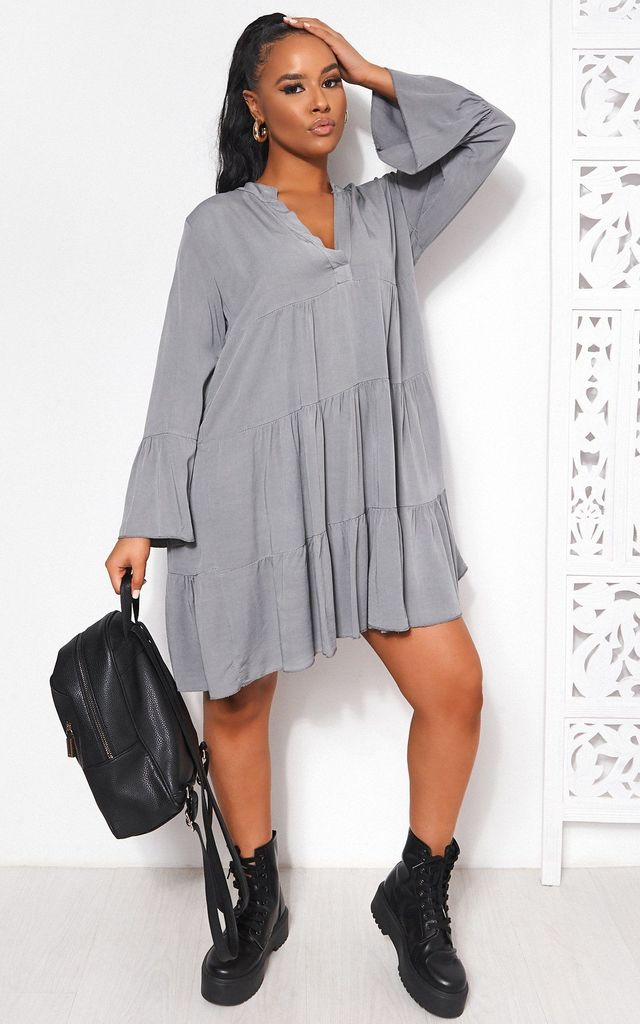 GREY LONG SLEEVE SMOCK DRESS by TFB