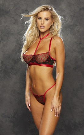 Tik Heart Embroidery Bra Set Black Red by BB Lingerie