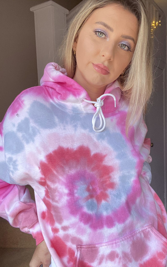 Oversized Tie Dye Hoodie in Pink and Red by Lime Blonde