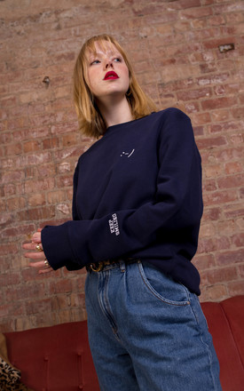 Navy Keep Smiling Cuff Detail Sweatshirt by Rock On Ruby