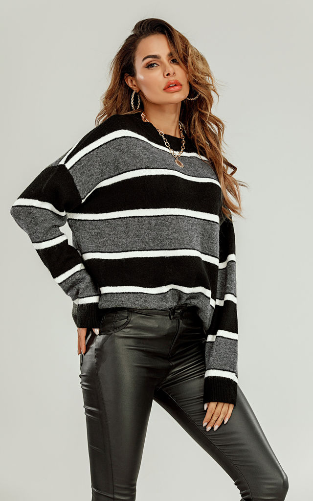Wool Blended Striped Jumper Top In Black & White by FS Collection