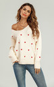 Embroidery Red Heart V Neck Jumper In Cream by FS Collection