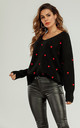 Embroidery Red Heart V Neck Jumper In Black by FS Collection