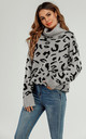 High Neck Grey & Black Leopard Jumper by FS Collection