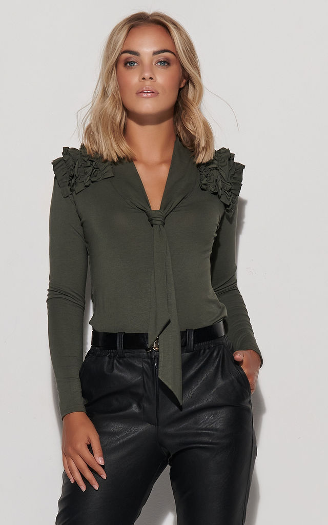 Tied Top with Frill in Khaki by Makadamia