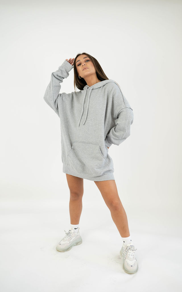 Oversized Raw Edge Hoodie - Light Grey by sianmarie.com
