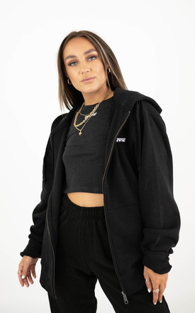 Oversized Black Hooded Mix & Match Zip Jacket by sianmarie.com